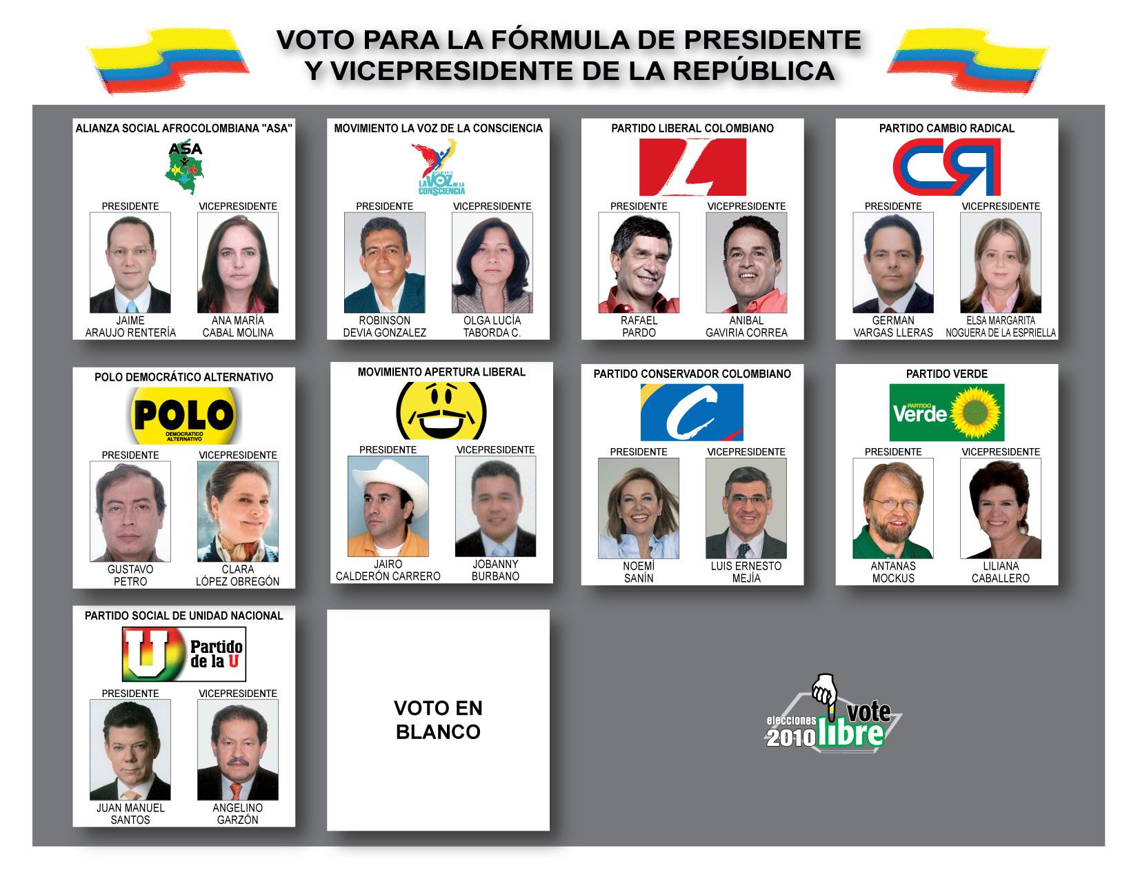 Tarjetón para elecciones presidenciales en Colombia 2010. El 30 de mayo, 29.997.574 colombianos elegirán al próximo presidente de la República.